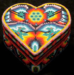 Beaded Huichol heart box