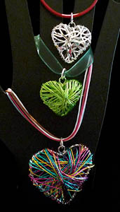 heart pendants on cords