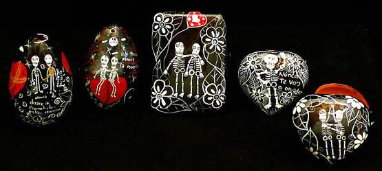 painted terra cotta calveras valentines boxes