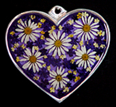 pewter heart with natural flowers