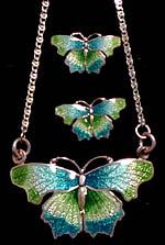 sterling silver enamel butterfly pdt and earr